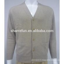 vente en gros 12gg plat cardigan tricoté hommes pur pull en cachemire