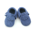 Navy Blue Suede Leather Baby Soft Moccasins