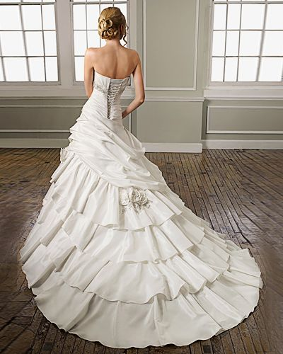Sweetheart Strapless Satin Cathedral Train Layers Flounces Beading Wedding Dress