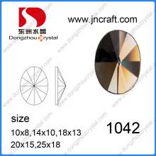 Machine Cut Wholesale Rivoli Oval Flat Back Stone with Two Holes