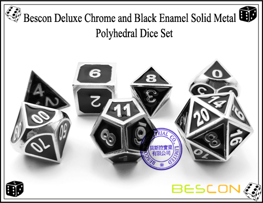 Bescon Deluxe Chrome and Black Enamel Solid Metal Polyhedral Role Playing RPG Game Dice Set (7 Die in Pack)-5