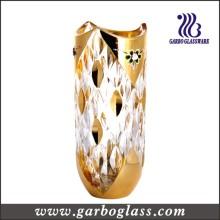 Florero de cristal de la decoración de oro (GB1512YM-DN)