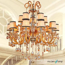 bright colored chandeliers