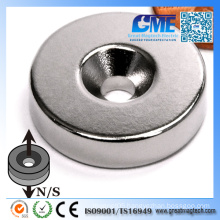 N42 D25.4X6.35X 10 Hole Ring NdFeB Countersunk Hole Magnet