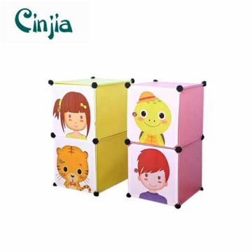 2cubes Einfache Nachttisch Plastikaufbewahrungskabinett mit Karikatur Türen