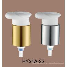 Le verre cosmétique transparent clair met en bouteille la pompe en plastique de lotion de pompe de crème de 24mm