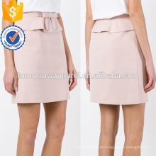 Cloud Pink Bow Belted Ruffled A Linha Mini Summer Skirt Fabricação Atacado Moda Feminina Vestuário (TA0035S)