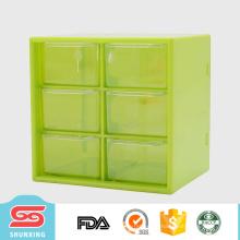 2017 nuevo almacenamiento de cajas de plástico multipropósito personalizado con 6 rejilla