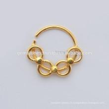 Vente en gros de fournitures pour bijoux Septum, bague en or plaqué or à la main 925 en argent sterling