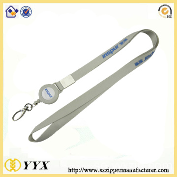Plastic badge reel heat transfer lanyard