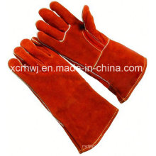 35cm/40cm Red Cowhide Split Leather Lined Welding Gloves, Kevlar Stitched Welding Gloves, Safety Welding Gloves, Long Leather Working Gloves for Welder Use