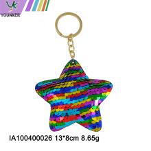 Rainbow Sequin star Key chain
