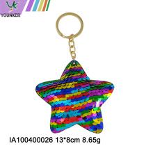 Llavero estrella de lentejuelas arcoíris