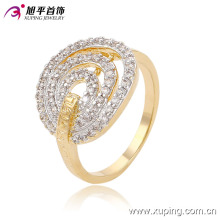 Xuping encanto simple estiramiento acanalado anillo de la joyería de moda con dos piedras 13675