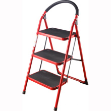 3 step ladder with handle, metal ladder, stainless steel colored step ladder