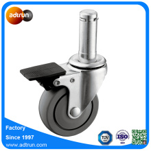 Roue de roulement à billes de PU de 3inch 22.5x55mm Grip Ring Stem Caster