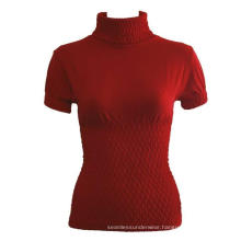 Ladies Seamless Short Sleeve Turtleneck Top Diamond Pattern