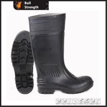 Schwarzer PVC-Regen-Stiefel mit Stahlkappe (SN5124)