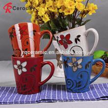 Decalque da flor do costume 10oz caneca cerâmica handpainted