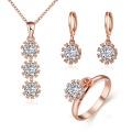 Schönes Schmucksachesatz-Rosen-Gold überzogener Zircon-Blumen-Form-Halsketten-Ring-Ohrring