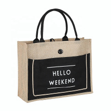 Wholesale Black Handle Reusable Bags Front Canvas Pocket Tote Jute Shopping Bag with Customized Logo