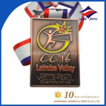 Rectângulo Forma Antiguidade Cobre Volleyball Medalha Medalha de Desporto com Fita