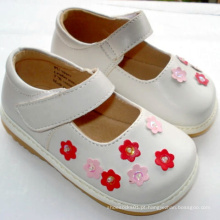 Lovely White Small Pink Flowers Baby Sapatos ásperos