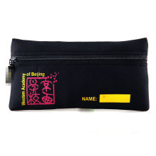 Oem Fancy Black Color Large Printing Neoprene Pencil Case With Zipper / Pouch For Women
