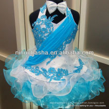 NW-338 Applique com Hot Fix Rhinestone Organza saia Flower Girl Dress