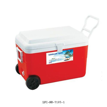 Plastic Insulated Ice Cooler Box Wheel Leisure Cooler 60L