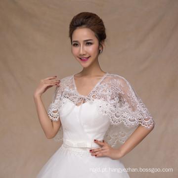 Envoltório branco feminino para vestido de noiva appliques de renda branco xale de renda