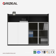 ORIZEAL high quality office furniture wooden Filing Cabinets with glass door