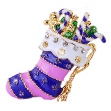 Christmas gift Pins new 2014 design alloy Christmas boot colorful enamel crystal brooches for women