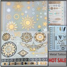 2016 Рекламная нетоксичная металлическая татуировка Gold & Silver Temporary Tattoo sticker YS030