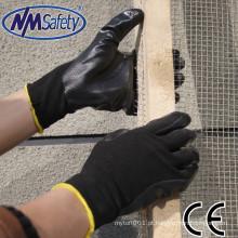 NMSAFETY preto nitrilo luvas de trabalho de segurança luva de trabalho lavável