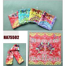 Леди мода печатные площади Шелковый платок (HA75502)