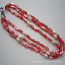 Daking 3 Reihen rote Shell Halskette, Modeschmuck