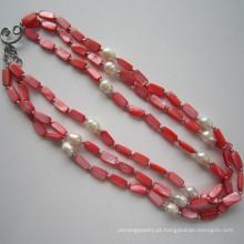 Daking 3 fileiras colar de shell vermelho, jóias de moda