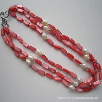Daking 3 Rows Red Shell Collier, bijoux à la mode