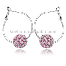 Trendy white gold jewelry crystal diamond ball hoop earrings