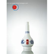 Botella de licor de porcelana blanca y azul