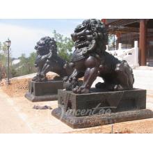 Personnalisé moderne jardin sculpture bronze grandeur nature bronze lion avec ballon