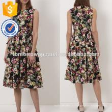 Новая мода черный цветок Мульти Цветочный печать чая платье Производство Оптовая продажа женской одежды (TA5229D)