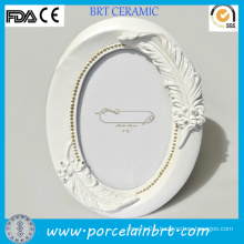 Unique Oval White Picture Frames with Handmade Feather
