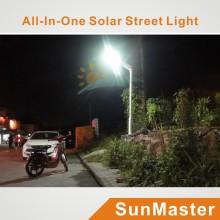 Luz de calle solar de 25W LED todo en uno, Bridgelux Chip 45mil, conductor de Meanwell, IP65, 3 años de garantía