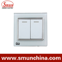 2gang White Touch Switch, interruptor de pared, toma de corriente