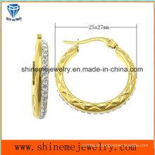 Shineme Jóias Moda aço inoxidável chapeamento brinco de ouro (ERS6904)