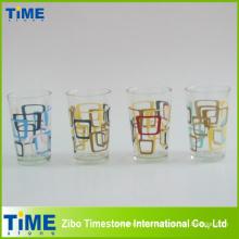 Copo de suco de impressão de vidro decalque cor (PB-171)