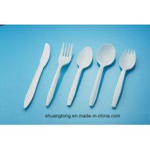 Cubiertos de plástico PP blanco cuchillo de tenedor desechable Cuchara de mesa