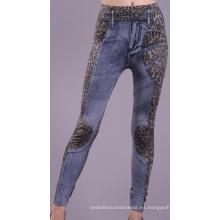Azul de inconsútil de las señoras periódicos grabado leggins Leggings de Jean